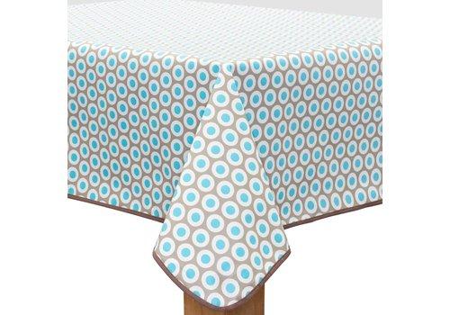 MixMamas Tafelzeil 140 x 200 cm - Oogjes - Taupe/Turquoise