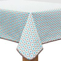 Vierkant Tafelzeil - Ø 140 cm - Oogjes - Taupe/Turquoise
