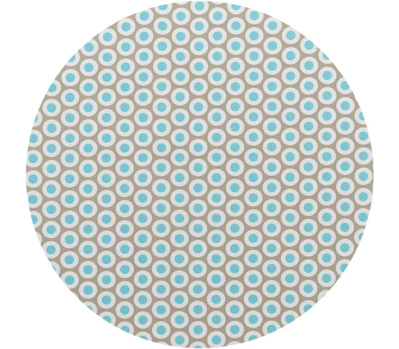Tafelzeil Rond - Ø 140 cm - Oogjes - Taupe/Turquoise