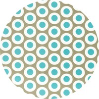 Rond Tafelzeil - Ø 140 cm - Oogjes - Taupe/Turquoise