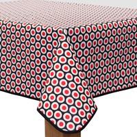 Vierkant Tafelzeil - Ø 140 cm - Oogjes - Zwart/Rood