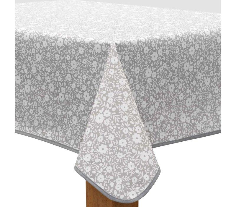 Tafelzeil 140 x 200 cm - Bloemetjes Grijs/Wit