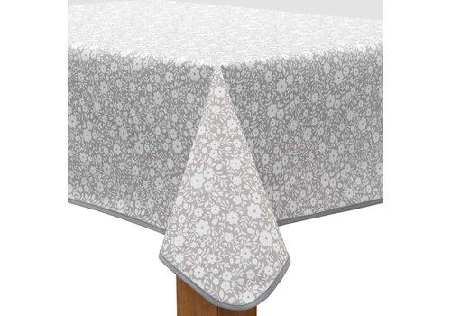 MixMamas Vierkant Tafelzeil - 140 cm - Bloemetjes Grijs/Wit