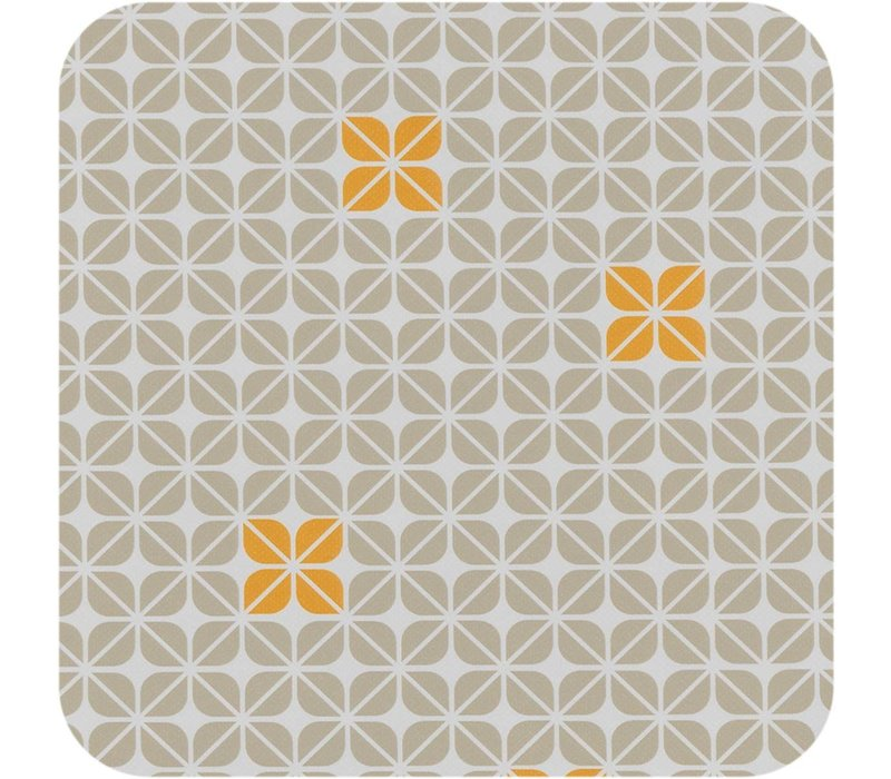 Vierkant Tafelzeil - Ø 140 cm - Graphic-flower-taupe-oker