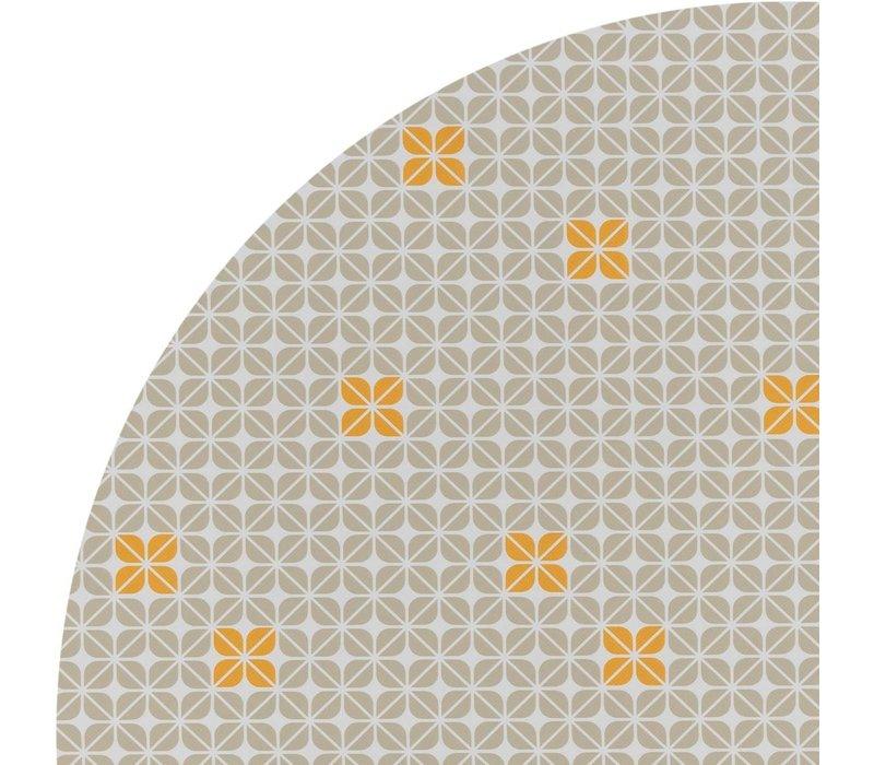 Tafelzeil Rond - Ø 140 cm - Graphic-flower-taupe-oker