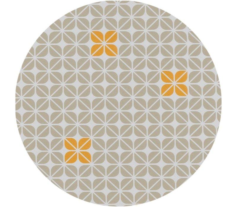 Rond Tafelzeil - Ø 140 cm - Graphic-flower-taupe-oker