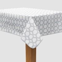 Vierkant Tafelzeil - Ø 140 cm - Hexagonal-layers-Wit/Grijs
