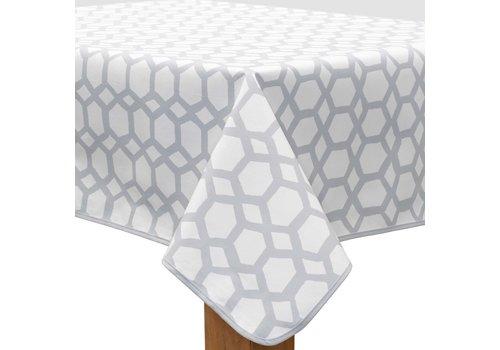 MixMamas Vierkant Tafelzeil - Ø 140 cm - Hexagonal-layers-Wit/Grijs