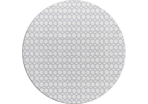 MixMamas Rond Tafelzeil - Ø 140 cm - Hexagonal-layers-Wit/Grijs