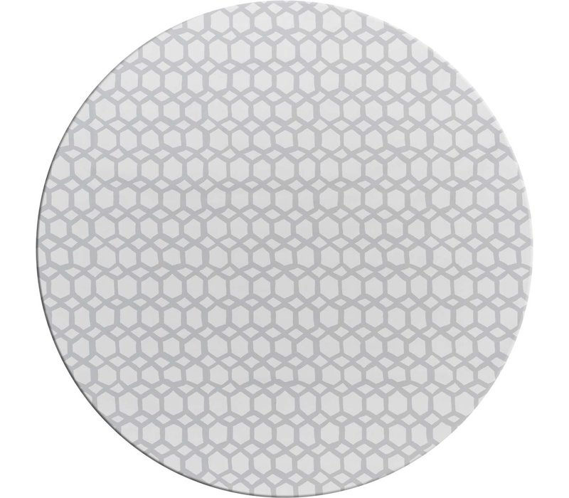 Rond Tafelzeil - Ø 140 cm - Hexagonal-layers-Wit/Grijs