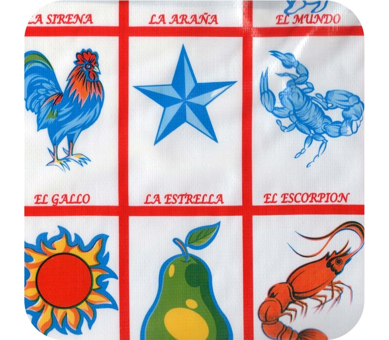 Mexicaans Tafelzeil Loteria - Rol - 120 cm x 11 m - Rood
