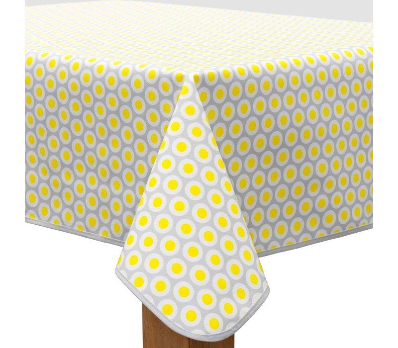 Vierkant Tafelzeil - Ø 140 cm - Oogjes - Grijs/Geel
