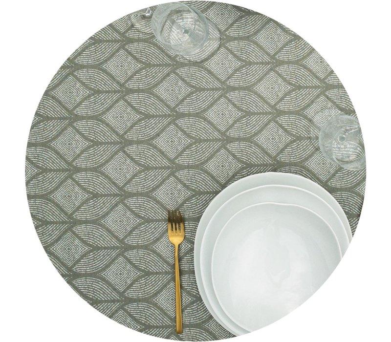 Rond Tafelkleed Gecoat Jacquard- Ø 180 cm – Ogee - Groen / Grijs