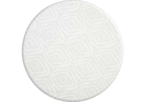 MixMamas Rond Tafelkleed Gecoat - Ø 160 cm - Grote etnische ruit - Wit