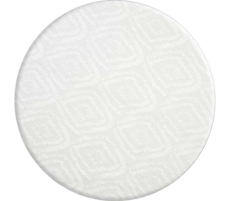 Rond Tafelkleed Gecoat - Ø 160 cm - Grote etnische ruit - Wit
