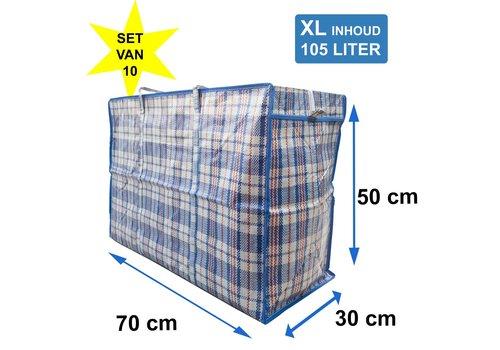 MixMamas Big Shopper / Opbergtas / Waszak XL 70x50cm Set van 10 Blauw