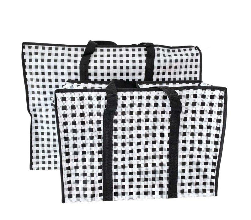 Big Shopper met rits - 60 x 45 cm - Ruit - Zwart -Set van 2