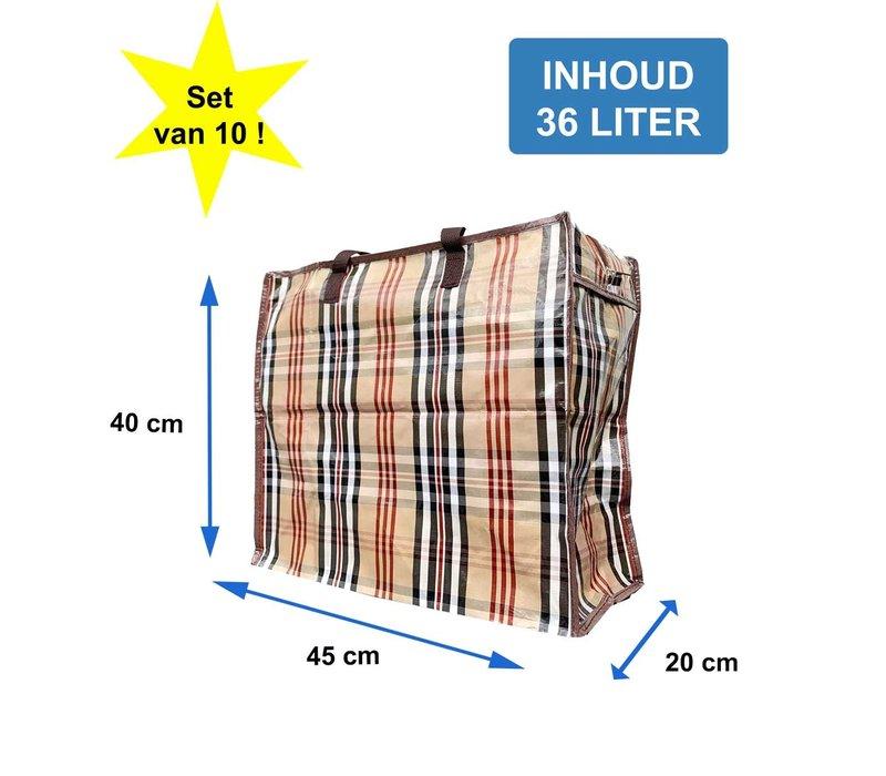Big Shoppers met rits M - Voordeelset 10x - 45 x 40 cm - Ruit Beige