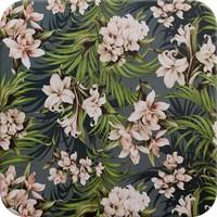 Tafelzeil - 140 x 250 cm - Hibiscus - Petrol Blauw