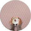 MixMamas Rond Tafelzeil - Ø 140 cm - Grafische print terra - roze