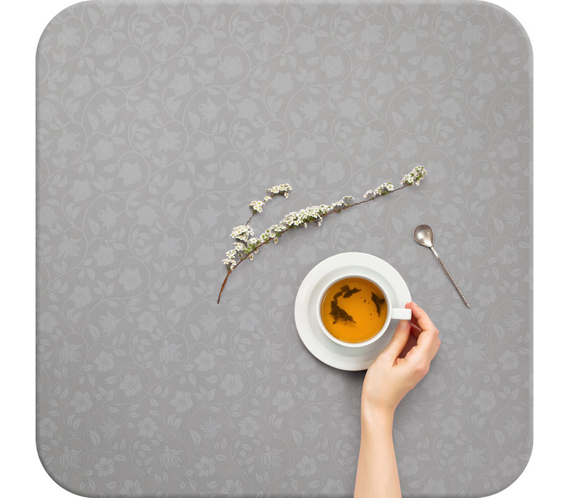 Tafelzeil - 140 x 250 cm - Strakke bloem - lichtgrijs