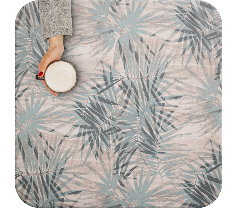 Tafelzeil - 140 x 250 cm - Tropische bladeren - grijsblauw
