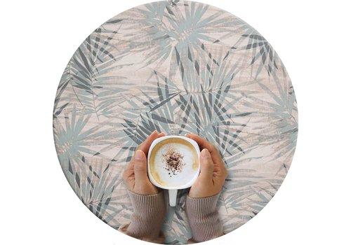 MixMamas Rond Tafelzeil - Ø 140 cm - Tropische bladeren - grijsblauw