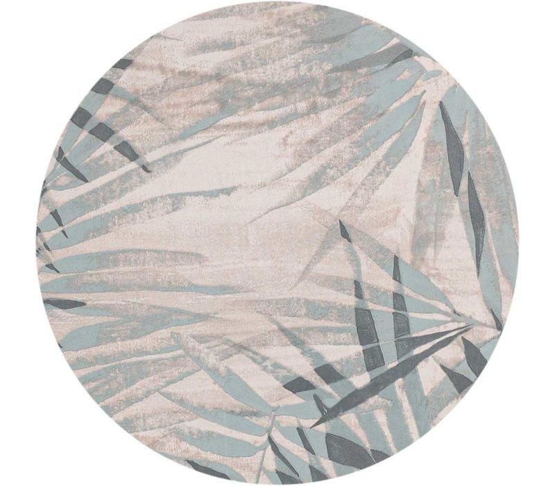 Rond Tafelzeil - Ø 140 cm - Tropische bladeren - grijsblauw