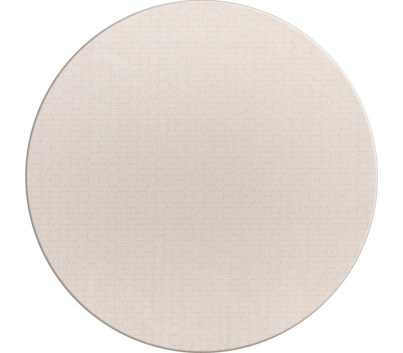 Rond Tafelkleed Gecoat Jacquard - Ø 160 cm – Striped Hexagon - Beige