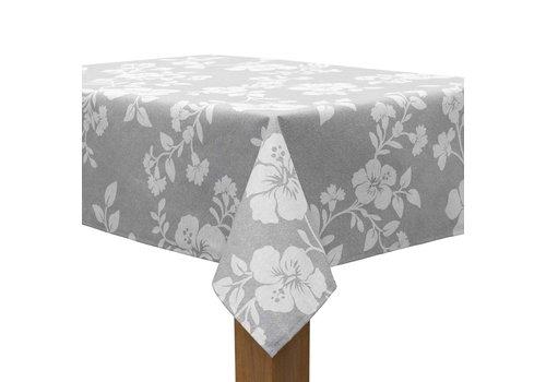 MixMamas Tafelkleed Gecoat Hibiscus - 140 x 250 cm - Grijs