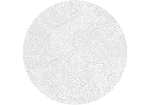MixMamas Rond Tafelkleed Gecoat Jacquard - Ø 160 cm -Paisley - Wit