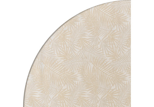 MixMamas Rond Tafelkleed Gecoat Jacquard - Ø 180 cm -Palm Leaves- Beige