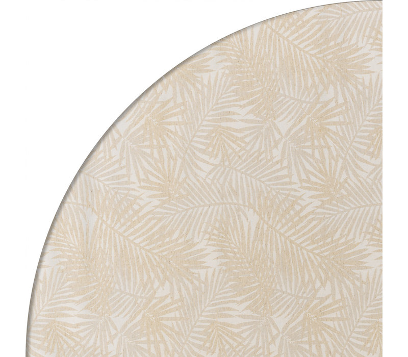 Rond Tafelkleed Gecoat Jacquard - Ø 160 cm - Palm Leaves- Beige