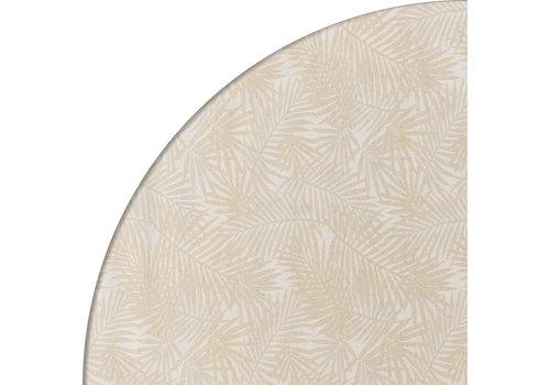 MixMamas Rond Tafelkleed Gecoat Jacquard - Ø 140 cm – Palm Leaves - Beige