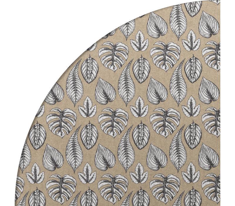 Rond Tafelkleed Gecoat - Ø 140 cm – Botanische Print Monstera – Zwart