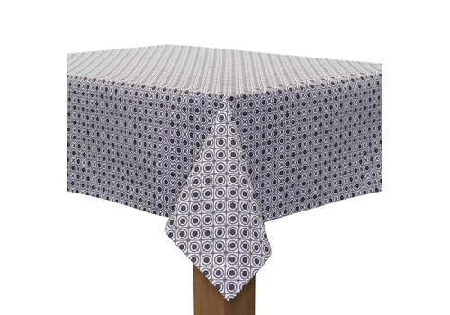 MixMamas Rond Tafelkleed Gecoat - Ø 180 cm – Rondjes Vierkantjes - Grijs