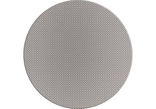 MixMamas Rond Tafelkleed Gecoat - Ø 140 cm – Rondjes en Vierkantjes – Grijs