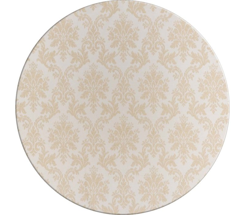 Rond Tafelkleed Gecoat Jacquard - Ø 160 cm – Chateau Barok - Beige / Zilver