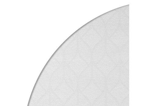 MixMamas Rond Tafelkleed Gecoat Jacquard - Ø 180 cm -Ogee - Crème/Wit