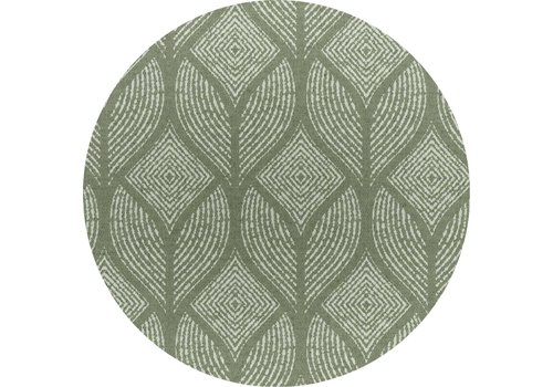 MixMamas Rond Tafelkleed Gecoat Jacquard- Ø 160 cm – Ogee - Groen / Grijs