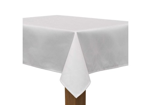 MixMamas Tafelkleed Gecoat Ogee Jacquard – 140 x 250 cm – Wit