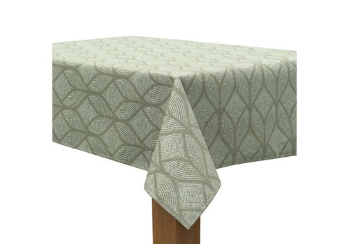 MixMamas Tafelkleed Gecoat Ogee Jacquard – 140 x 250 cm –  Groen / Grijs