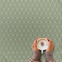 Tafelkleed Gecoat Ogee Jacquard – 140 x 250 cm –  Groen / Grijs