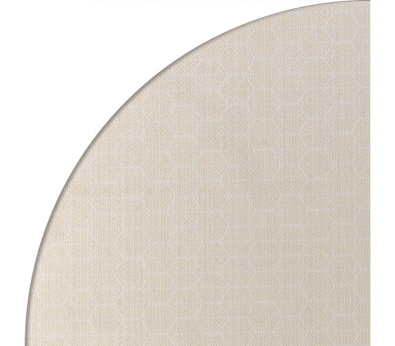 Rond Tafelkleed Gecoat Jacquard - Ø 180 cm – Striped Hexagon - Beige / Goud