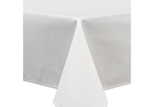 MixMamas Vierkant Tafelkleed Gecoat Jacquard - Ø 180 cm - Striped Hexagon - Wit