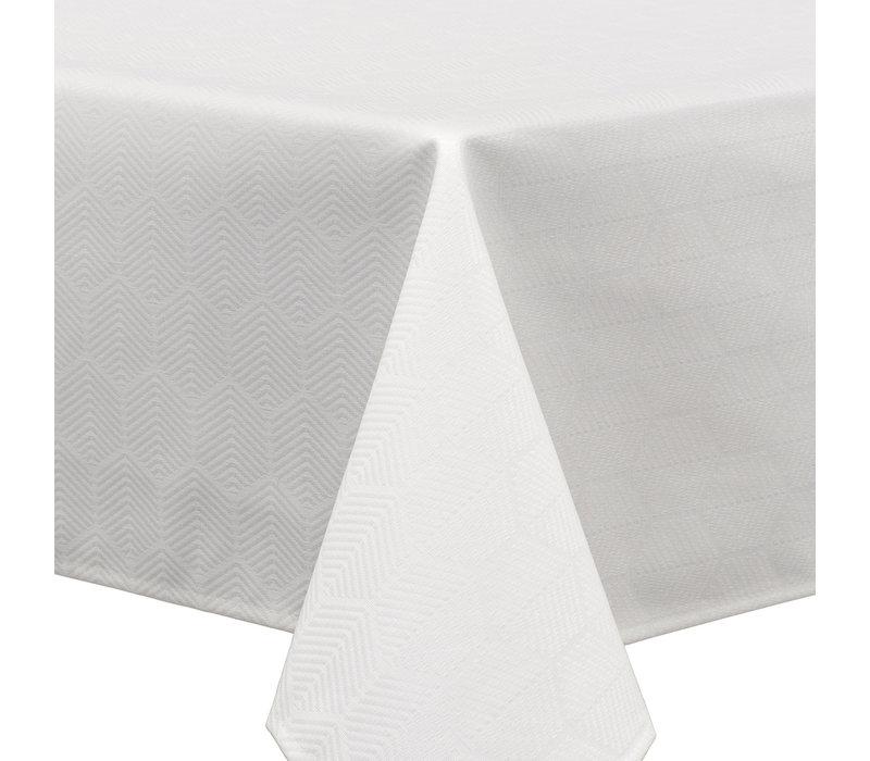 Vierkant Tafelkleed Gecoat Jacquard  - Ø 180 cm - Striped Hexagon  - Wit