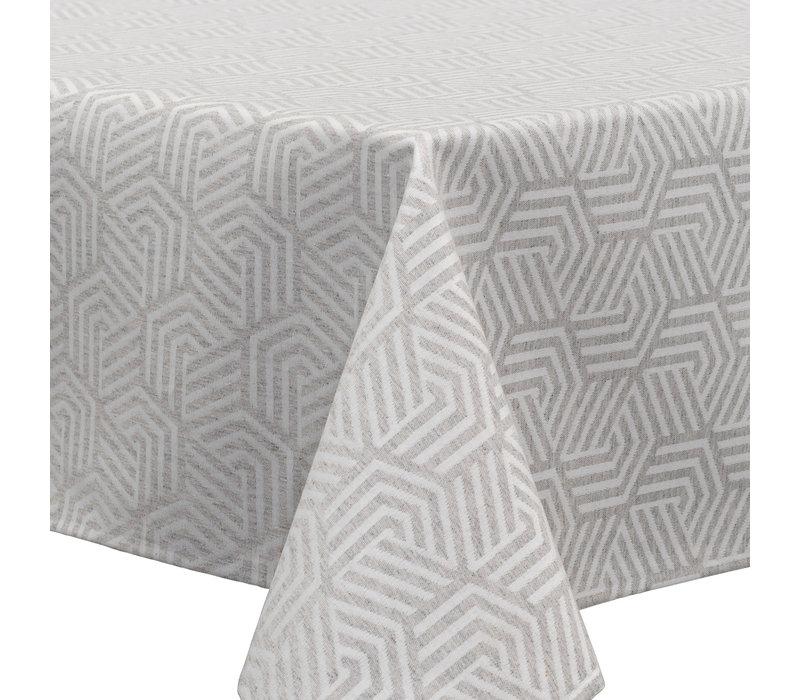 Tafelkleed Gecoat Jacquard Seamless Hexagon – 140 x 300 cm –  Grijs