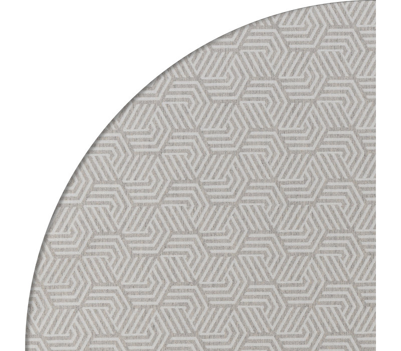 Rond Tafelkleed Gecoat Jacquard - Ø 140 cm – Seamless Hexagon - Grijs