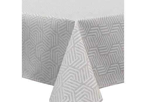 MixMamas Vierkant Tafelkleed Gecoat Jacquard - 180 cm -Hexagon Seamless -Grijs