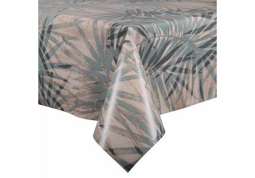 MixMamas Tafelzeil - 140 x 250 cm - Tropische bladeren - grijsblauw